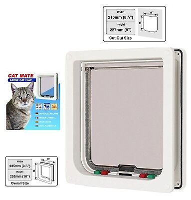 Cat mate 4 way locking large cat / small dog flap white catflap pet door 221W