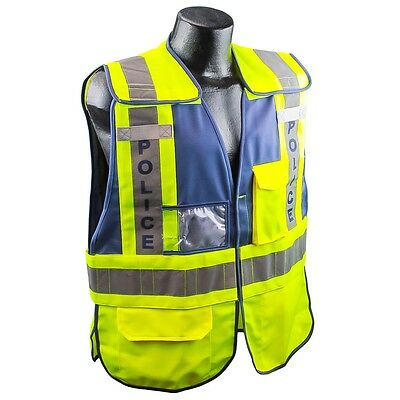 Full Source POLICE Safety Vest Yellow with Reflective Stripes