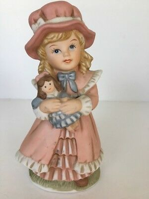 """HOMCO Girl W/ Doll Figurine Pink Porcelain #1419 5 1/2""""t  x 3 1/4"""" w Collectible"""