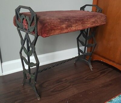 Antique Verona Art Deco Nouveau Cast Iron Polychrome Piano Radio Vanity Bench