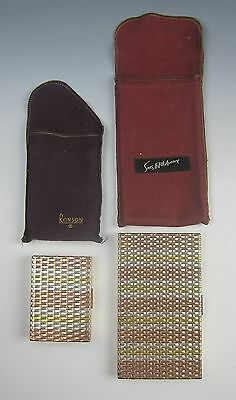 Pair of Evans Sterling Tri Color Woven Cigarette & Compact Cases 295 grams
