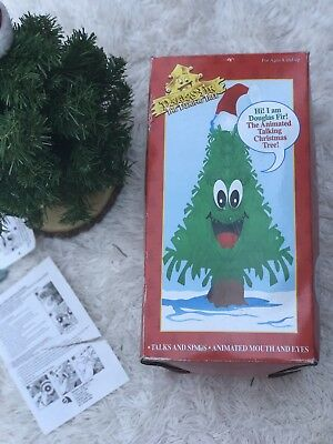 "Original Douglas Fir The Talking Singing Christmas Tree Large 18"" Vintage"