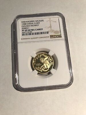 1988 100 Yuan Gold China Golden Monkey NGC PF 69 UC Series 1 Endangered Wildlife