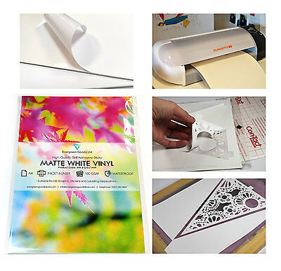 10x A4 Sticky MATT Self-Adhesive Craft Vinyl for Silhouette Die Cut WATERPROOF