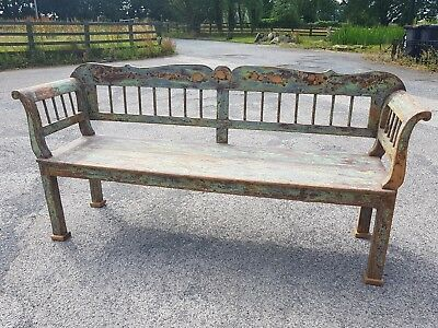 Antique Bench Settle Pew French Swedish Hungarian Chippy Paint
