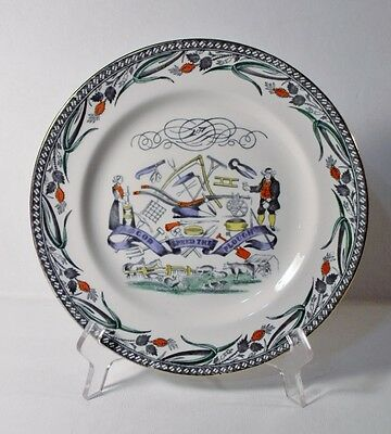 """Burgess & Leigh FARMERS ARMS 9"""" Luncheon Plate, Gold Trim """"God Speed The Plough"""""""