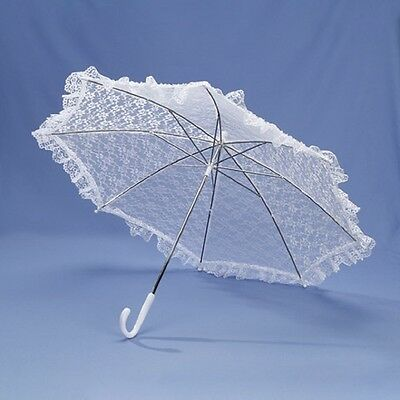 Parasol Lace Bridal Baby Shower Elegant Beautiful Umbrella White 32""