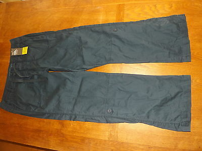 New Ex-M&S Ladies Navy 100% Cotton Cargo Roll-up Trousers Size 12 Long (£15)