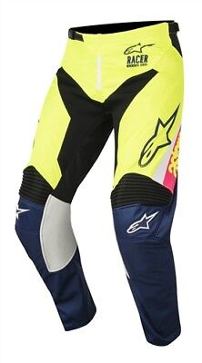Alpinestars 2018 Racer Youth Supermatic White Dark Blue Yellow Flo Race Pants Mo
