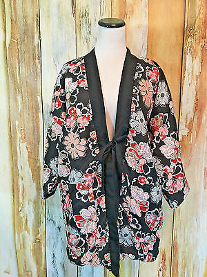 Puffy Reversible Kimono Jacket Purple Black Floral Robe Cotton Blend sz M EUC!