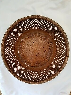 Vintage Antique Old Chinese Hand Woven Bamboo Basket