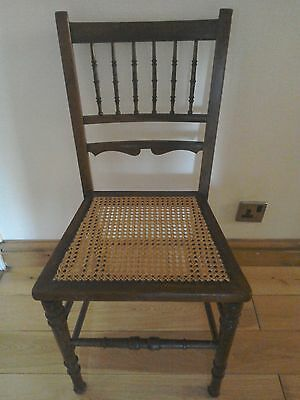 Antique Edwardian cane seated chair nice elegant Art's and Crafts design.