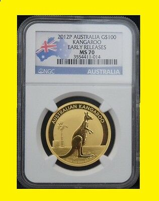 2012 P Australia 1 Oz 9999 Gold Kangaroo G$100 Ngc Ms 70 Early Releases Flag Lbl