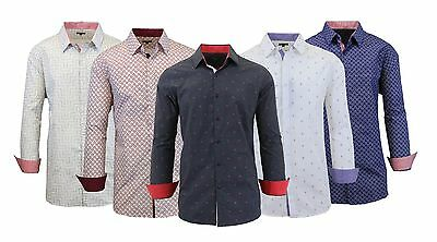 Mens Long Sleeve Dress Shirt Button Down Casual Printed Fancy Contrast Trim Cuff