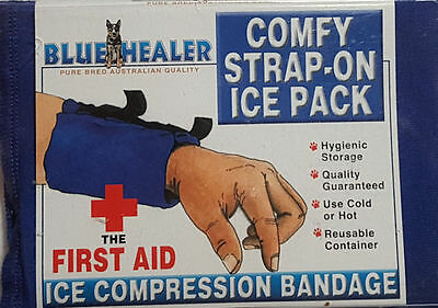 Blue Healer Ice Pack Compression Bandage Use Hot or Cold Cotton Stretch Straps