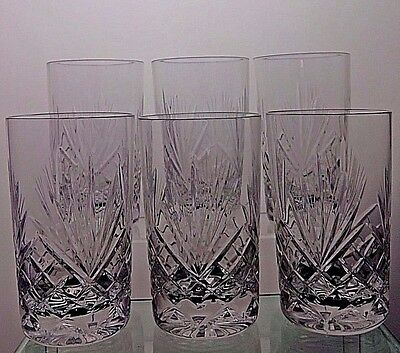 Zawiercie  Crystal Cut Glass Whisky Highball Tumblers/glasses Set Of 6