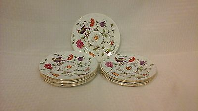 Crown Fine Bone China Birds of Paradise Pattern #592627 10 Bread & Butter Plates