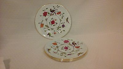 Crown Fine Bone China Birds of Paradise Pattern #592627 4 Lunch Plates