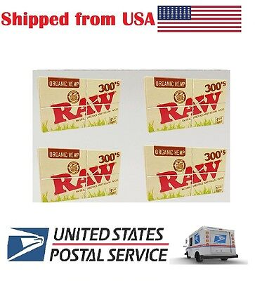 2 X PACK RAW 300's Natural Unrefined Organic Hemp Cigarette Rolling Paper 1 1/4