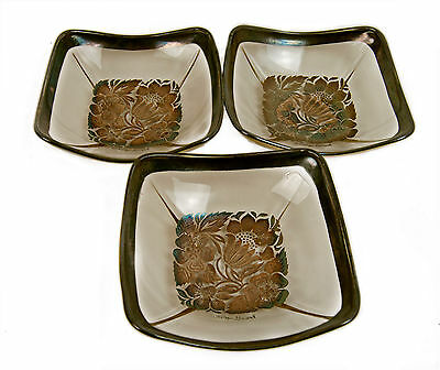 Vintage Georges Briard Gold Design Floral Curved Glass Lot of 3 Dishes