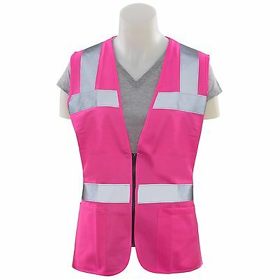 ERB Ladies Fitted Pink Safety Vest Reflective with Pockets