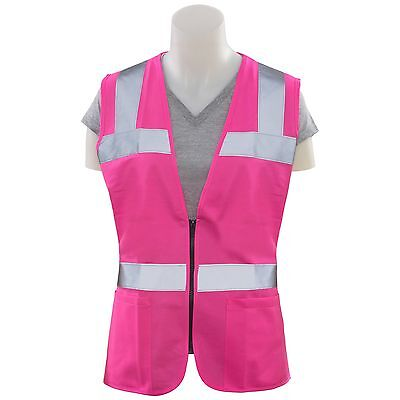 ERB Ladies Safety Vest Pink with Reflective Stripes