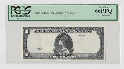 "PCGS Currency Gem New 66PPQ ""10"" 1929 Specimen Note American Banknote Co NY(321)"