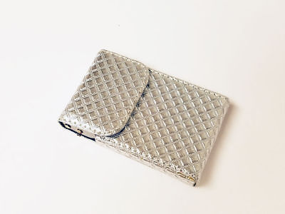 Silver Patent Leather Business ID Credit Card Holder Case Wallet