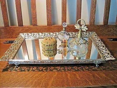 Vintage Art Deco Glass Mirror Vanity Perfume Tray