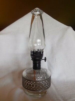"Rare, Vintage LampLight Farms 8.5"" Miniature Small Clear Glass w/ metal Oil Lamp"