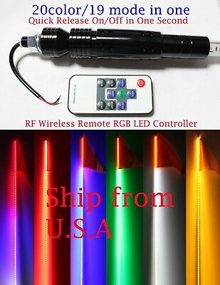 4 feet RGB Led whip w//American flag Q-Release 2PCS 20 color//19 mode remote