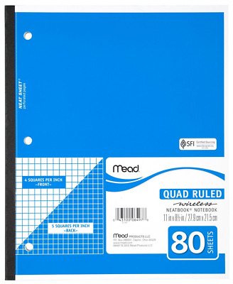 """Mead(R) Wireless Neatbook(R), Quadrille Ruled, 8 1/2"""" x 11"""", 80 Pages"""