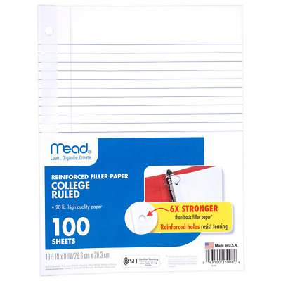 "Mead Filler Paper, College Ruled, Reinforced, 10-1/2"" x 8"", Loose Leaf (15008)"