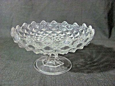 "Vintage Clear Glass Diamond/Cube Swirl Pedestal Shallow 6 1/2"" Dish"