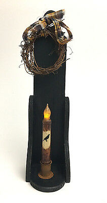 Wall Taper Candle Holder with Wreath and Candle - Black