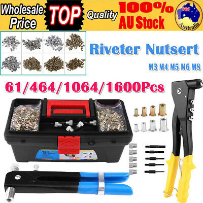 Rivnuts Rivet Nutsert Insert M3 M4 M5 M6 M8 Heavy Duty Nut Tool Box Kit Set