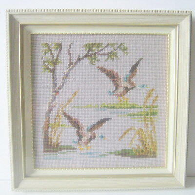 Duck by the Pond Picture-Mallard Picture-Needlepoint-Framed Shabby Picture