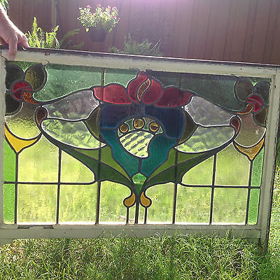 Antique Large Leaded Glass Beveled Window 14 colors 43x27