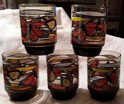 VTG FIVE 5 LIBBEY Glasses Tumblers Monarch Butterflies 1970s? RETRO Orange