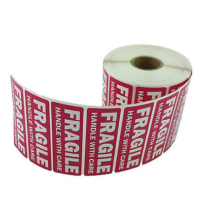 1 Roll 1 x 3 FRAGILE HANDLE WITH CARE Stickers (1000 Per Roll) - Waterproof