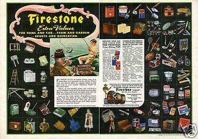 1942 Firestone Tractor & Truck Tire Dealer Store 2 Page Print Ad