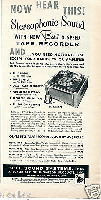 1956 Print Ad of Thompson Bell Sound Systems Inc Tape Recorder Model BT-76