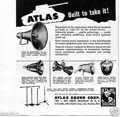 1951 Print Ad of Atlas Sound Corp Speakers Built to take it! Armed Forces