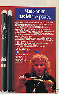 1993 Print Ad of Easton Ahead Drumsticks with Matt Sorum
