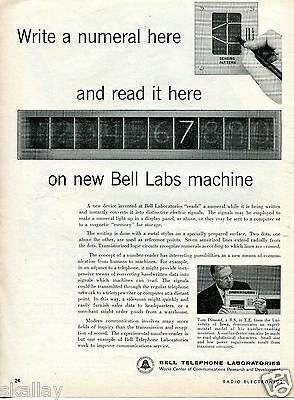 1958 Print Ad of Bell Telephone Laboratories Experimental Number Reader Machine