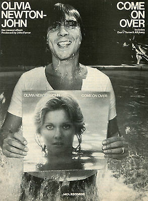 1976 Olivia Newton John Come On Over Album Print Ad