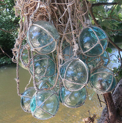 """Japanese Glass FLOATS 2"""" Netted (22) Net Bundle Cluster AUTHENTIC Yard Tiki Swag"""