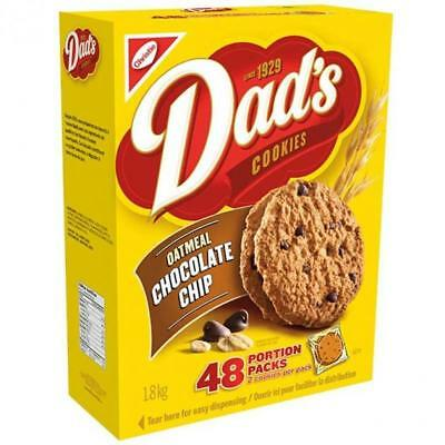MASSIVE BOX 48 Portion Pack CHRISTIE CANADA DAD'S Oatmeal Chocolate Chip Cookies
