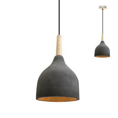Concrete Funnel Pendant Lighting Wooden Modern Contemporary Minimal - Free Bulbs