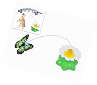 DSstyles Flower Shaped Base Electric Rotating Butterfly Interactive Cat Teaser C